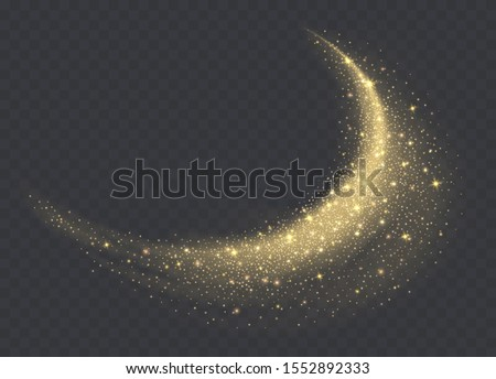 Golden dust cloud with sparkles isolated on transparent background. Stardust sparkling background. Glowing glitter smoke or splash. Vector illustration.