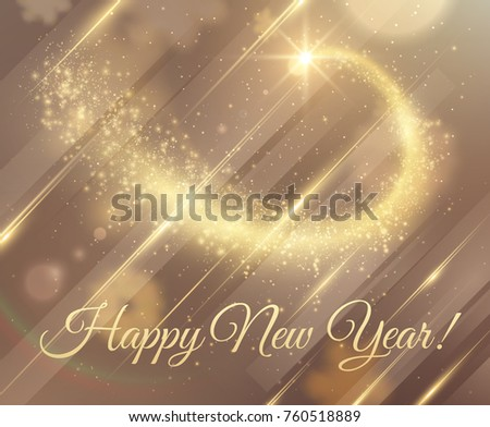 golden dust particle star trail new year background vector eps10