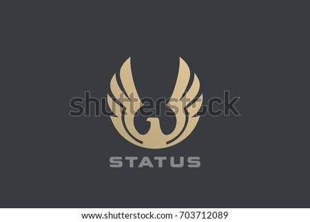 Golden Eagle rising Wings Logo design vector template Circle shape. Luxury corporate heraldic Falcon Phoenix Hawk bird Logotype concept icon.