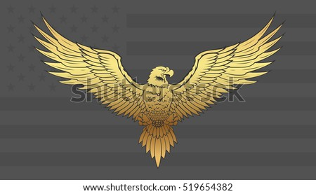 Golden Eagle with wings spread.