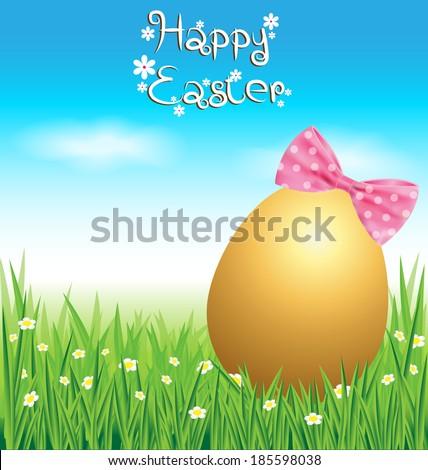 golden easter egg on green