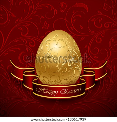 Golden Easter egg with decorative elements and ribbon, illustration.