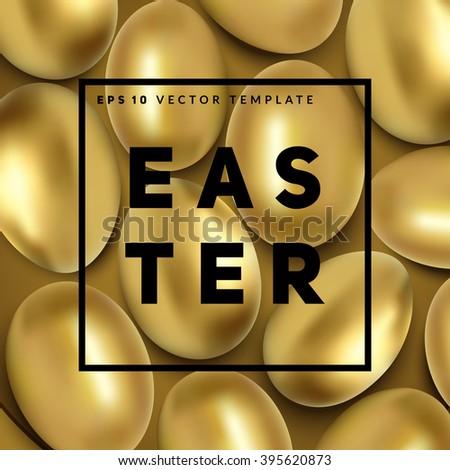 golden easter eggs background
