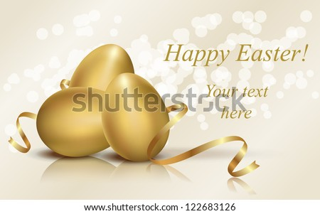 golden easter eggs vector