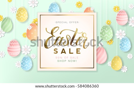 Golden Easter Sale Background With Decorative Eggs