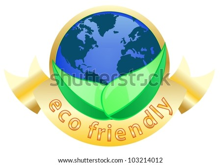 golden ecology friendly label with blue globe isolated white