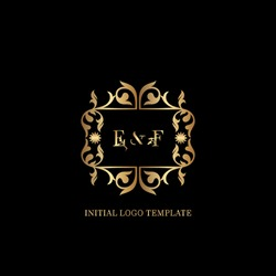Golden EF Initial logo. Frame emblem ampersand deco ornament monogram luxury logo template for wedding or more luxuries identity