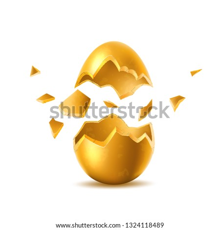 Golden egg with broken, exploded eggshell. Easter holiday symbol. Investment, money and success concept. Restaurant, cafe menu design. Earnings and savings design object. Vector illustration