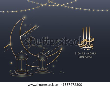 Golden Eid-Al-Adha Mubarak Calligraphy with Line Art Crescent Moon, Animals, Lanterns and Lighting Garland Decorated on Grey Background.