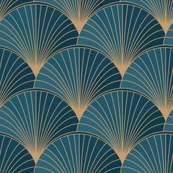 Golden elements on blue background seamless pattern. Art deco style. Vector illustration.