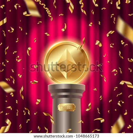 Golden ethereum coin on a pedestal on a stage in spot of light and golden foil confetti against the red background of the curtain. Vector illustration.