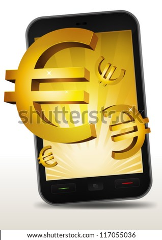 Golden Euros Inside Mobile Phone/ Illustration of a smart phone e-book with golden euros currency bursting from the screen. Imaginary model of mobile phone not made from any existing copyrighted model