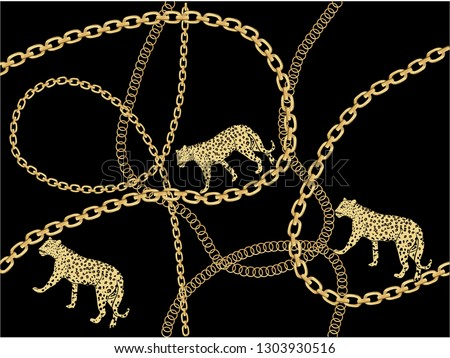 golden fashion chain print  seamless  patternn Baroque print with chains,   vector leopard,stationary,fabric,towel,paper leopard wild exotic safari
