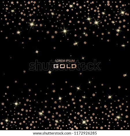 Golden Festive confetti. Bronze Polka dot. Gold glitter background for the card, invitation. Copper Holiday Decorative element. Illustration of falling shiny particles on black background.