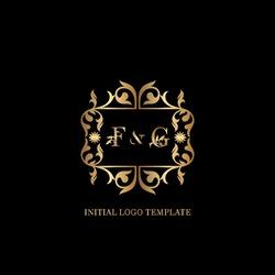 Golden FG Initial logo. Frame emblem ampersand deco ornament monogram luxury logo template for wedding or more luxuries identity