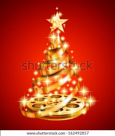 golden film strip christmas