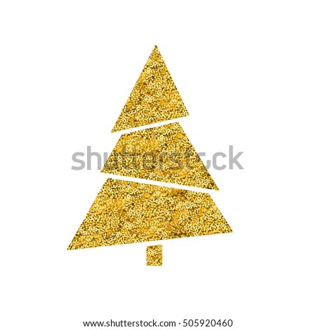 Golden Fir Tree. New Year Tree sign. Gold texture. Minimalistic design. New Year sticker. #505920460