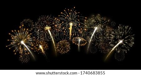 Golden firecracker. Shiny gold fireworks arc, premium yellow firework burst and luxury holiday celebration vector illustration