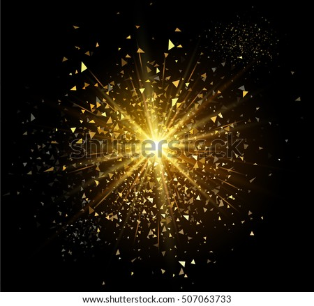 Golden firework flash isolated on black background. Vector illustration.
