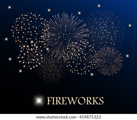 golden firework show on night