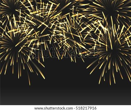 golden fireworks on black color