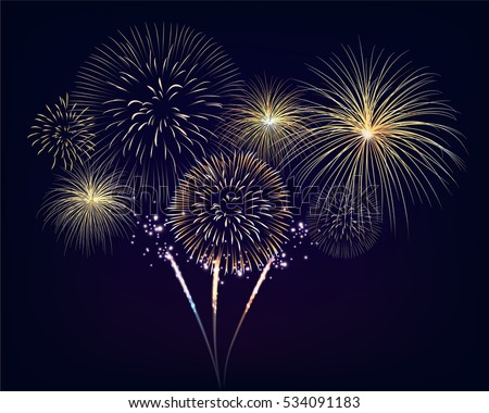 Golden fireworks set on twilight background. Design for celebration event in vector illustration