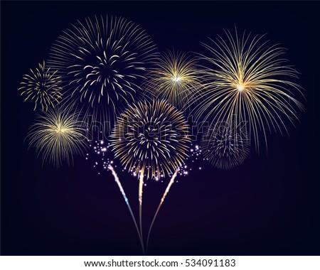 golden fireworks set on