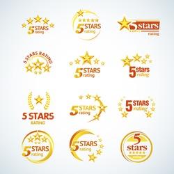 Golden Five stars round logo template set. Isolated Vector illustration