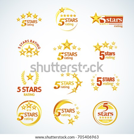 golden five stars round logo