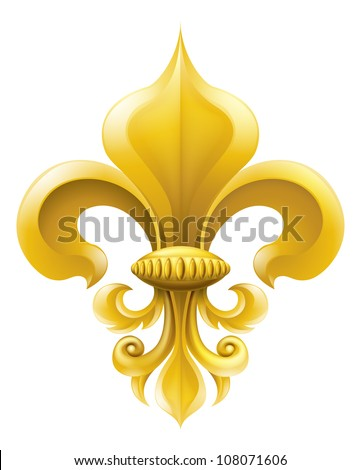 Golden fleur-de-lis decorative design or heraldic symbol. - stock vector
