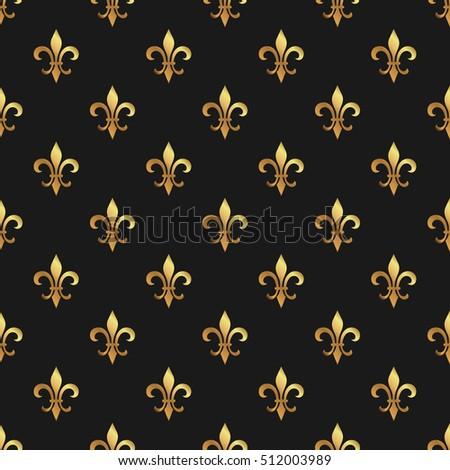 golden fleur de lis seamless