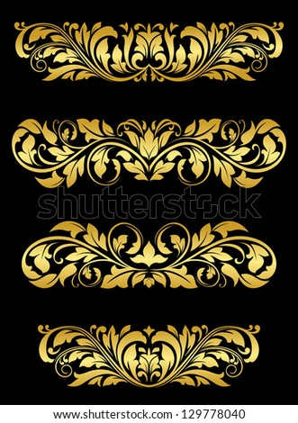 Golden floral embellishments and patterns for luxury design. Jpeg version also available in gallery