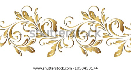 golden floral pattern ornamental seamless border flowery swirls and flowers decorative design element