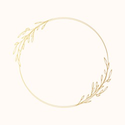 Golden flourish ornate wreath with rustic herb or brunch. Floral gold round frame for wedding card. Vector isolated elegant foliage border.