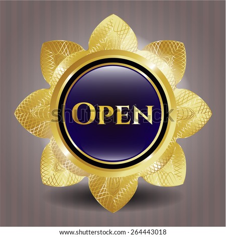 Golden flower with text open inside. Gold badge.