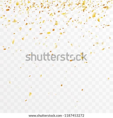 Golden foil confetti trimming pieces decoration party celebration design transparent template background vector illustration #1187453272