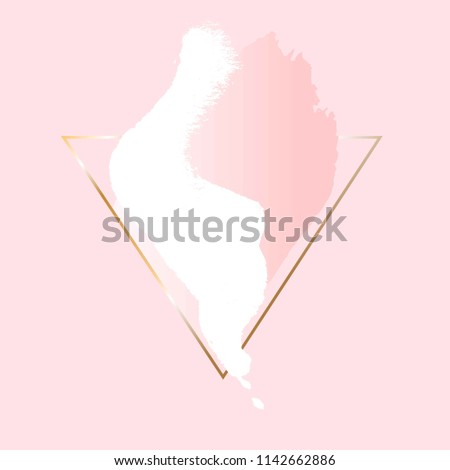 Golden foil linear triangle, white and rose pastel brush strokes on a pink background.