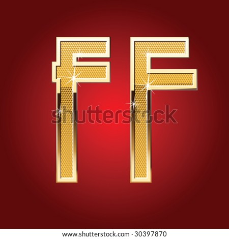 Golden font Letter F - stock vector