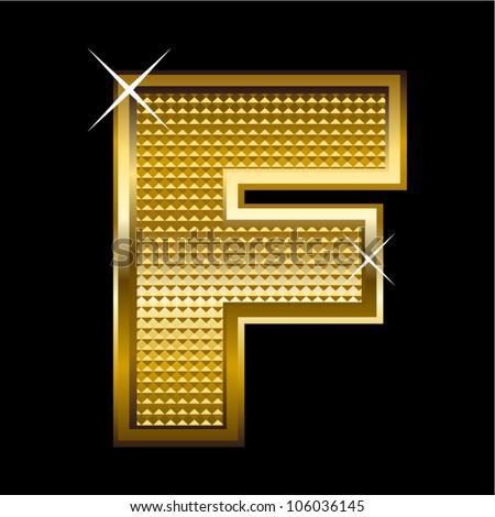 Fancy Letter f Font Golden Font Type Letter f