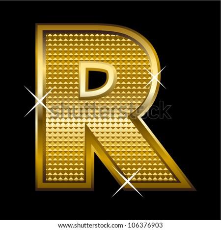 Golden Font Type Letter R Stock Vector Illustration
