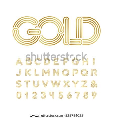 golden font vector alphabet
