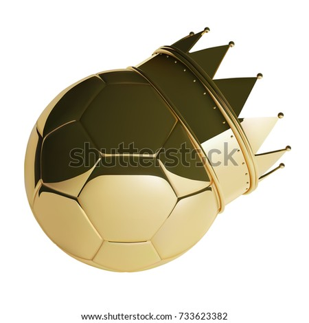 Golden Football or Soccer Ball With Crown. Photo-realistic Vector Illustration of 3D ball.