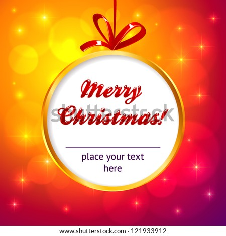 Golden frame Christmas ball with red ribbon and orange lights background - stock vector