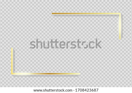Golden frame elements. Gold angles border on transparent background with shadow. Rectangle corners with glow shine and light effect. Vector illustration. Stockfoto ©