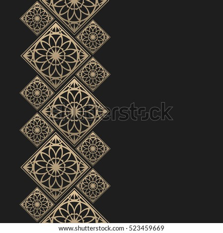 Golden frame in oriental style. Seamless border for design. Eastern background. Islamic card with place for text