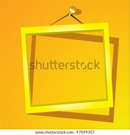 golden frame on the yellow wall. vector illustration.