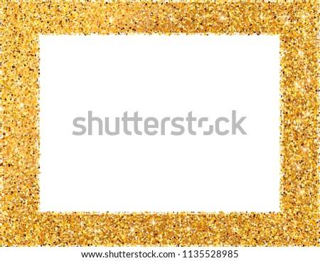 golden frame on white background decorative frame or border gold glitter vector illustration