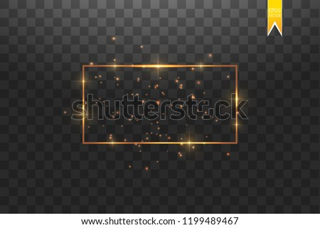 Golden frame with lights effects,Shining luxury banner vector illustration. Glow line golden frame with sparks and spotlight light effects. Shining rectangle banner isolated on black transparent