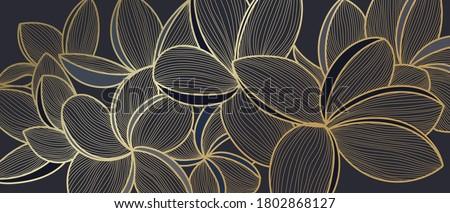Golden Frangipani botanical modern art deco wallpaper background vector. Line arts background design for interior design, vector arts, fashion textile patterns, textures, posters, wrappers, gifts etc.