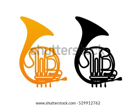 Golden French Horn Icon with Black Silhouette isolated on White Background.